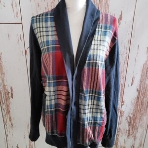 Tommy Hilfiger navy blue red plaid wool sweater